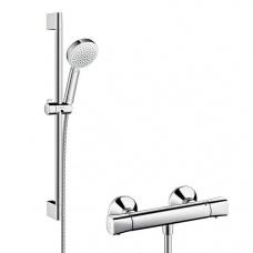 Hansgrohe Dušas komplekts ar termostatu Ecostat Universal/Crometta 100 Vario Combi, 650 mm, balts/hroms