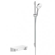 Hansgrohe Dušas komplekts ar termostatu ShowerTablet Select 300 Combi/Raindance Select E 120 3jet, 900 mm, balts/hroms